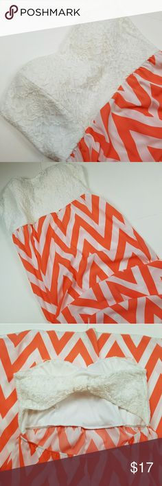 """Lace overlay strapless chevron maxi dress coral Adorable maxi dress with a white and coral chevron print. The back features a bow like tie with an opening in the back. Perfect for any occasion. Never worn. Women's XXL  (17/19) Measurements Across (where top meets chevron skirt) 16"""" Length (total from top to bottom) 49"""" No Boundaries Dresses Maxi"""