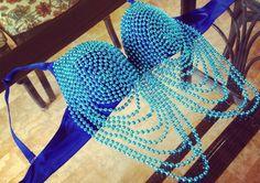 Electric Blue Mardis Gras Beaded Bra