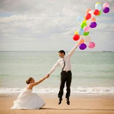 Photo, couple: shows wedding picture but could be just cute couple picture. Woman squatting and holding mans hand who is holding a large amount of balloons looking to be floating away Vintage Wedding Photos, Wedding Pictures, Photo Couple, Family Photo, Wedding Poses, Wedding Ideas, Wedding Shoot, Wedding Colors, Foto Wedding