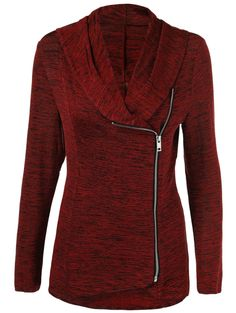 $12.60 for Plus Size Side Zipper Heathered Jacket in Burgundy | Sammydress.com