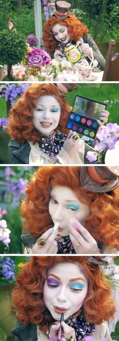 Fun DIY Halloween Costumes for Girls - Starbucks Costume Mad Hatter Makeup Diy Maquillage, Maquillage Halloween, Costume Halloween, Starbucks Halloween Costume, Halloween Diy, Superhero Halloween, Group Halloween, Alice Halloween, Mad Hatters