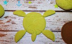Amigurumi turtle crochet coaster free pattern