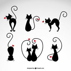 Cats in Love Vector Illustrations - Cricut - Gatos Cat Icon, Kitty Tattoos, Cat Drawing, Cat Love, Crazy Cats, Clipart, Rock Art, Painted Rocks, Vector Free