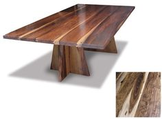 I like this table. I would like it a bit more if it was cut down the middle. It's 48 inches wide and 96 inches long. Two 48 inch square tables would be a little easier to move around.  http://www.trendir.com/archives/costantini-luca-wood-table.jpg