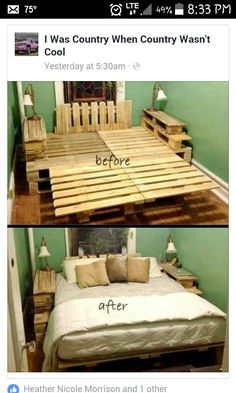 No Cost King Pallet Bed Before And After