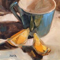 "Blue Morning - 6"" x 6"" oil painting by artist Elaine Juska Joseph *SOLD"