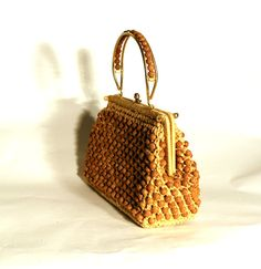 1950s straw beaded handbag