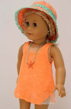 American girl Doll Clothes - Beach fun: Bathing suit coverup with beach hat and starfish necklace by LollyDollyDesigns on Etsy Sewing Doll Clothes, Sewing Dolls, Girl Doll Clothes, Doll Clothes Patterns, Clothing Patterns, Girl Dolls, Ag Dolls, Doll Patterns, Doll Toys