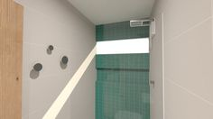 Banheiro com pastilha e nicho em toda a extensão da parede.O cabideiro também é um detalhe especial.  kb-arqdesign.com