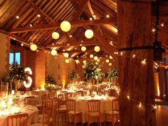 Festoon lights, paper lanterns and wall uplighters