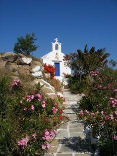 Hilltop chapel, Ios , Greece...looks like the scene in mama mia