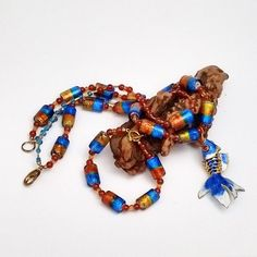 Koi Necklace Bracelet Set: aqua red gold gemstone & glass beaded necklace/bracelet in red carnelian, handmade, unique, boutique quality. by ArizonaBeadWorks on Etsy