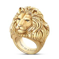 "Black Gold Jewelry Heart Of A Lion Ring - gold ion-plated solid stainless steel men's ring features sculpted lion head set with black sapphires. Etched with ""Heart of a Lion. Mens Gold Rings, Rings For Men, Gold Man, Fashion Bracelets, Fashion Jewelry, Gold Fashion, Fashion Men, Latest Fashion, Heart Of A Lion"