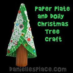Christmas Craft - Paper Plate and Doily Christmas Tree Craft from www.daniellesplace.com