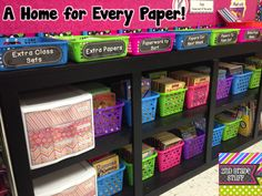 Grade Stuff: Avoid Stacks of Papers - ORGANIZE! I don't think I will need quite so many places for papers, but you never know. Some great ideas to stay organized! 2nd Grade Classroom, Classroom Design, Kindergarten Classroom, Future Classroom, School Classroom, Classroom Decor, Classroom Helpers, Classroom Hacks, Classroom Layout