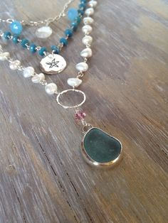 Boho Inspired Beaded Gemstone and Sea Glass Necklace With Charms Layered Necklace