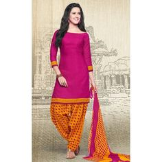 casual pink and orange patiala suit