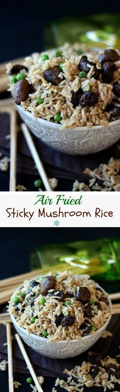 Air Fried Sticky Mushroom Rice will knock your socks off. This sweet and spicy sauce to toss with Jasmine rice is fast and easy. There's a skillet option too! ~ https://veganinthefreezer.com