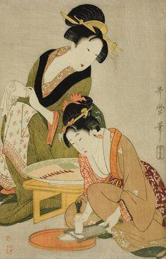 Kitagawa Utamaro Preparing Raw Fish 1799 Ukiyo-e Geisha Kunst, Geisha Art, Japan Painting, Art Japonais, Poster Prints, Art Prints, Art Institute Of Chicago, Japanese Prints, Japan Art