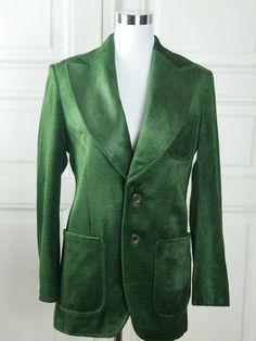 European Vintage Emerald Green Velour Velvet Women's Blazer, Super Wide Peak Lapels, Deep Green Jacket: Size 10 US, Size 14 UK by YouLookAmazing on Etsy