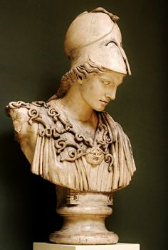 Cast of Colossal Bust of Athena Velletri.  original : Greek 450-400 BCE. Glyptothek. Munich. Germany.