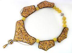 Beaded necklace Sandy  summer yellow by LaGansaHandiwork on Etsy