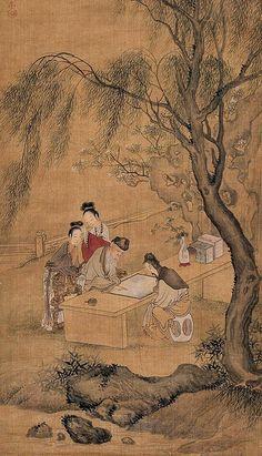 Qiu Ying (仇英) , 垂柳对弈