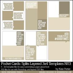 6x8 Pocket Cards: Splits 3x4 Layered Templates No. 03 - Digital Scrapbooking