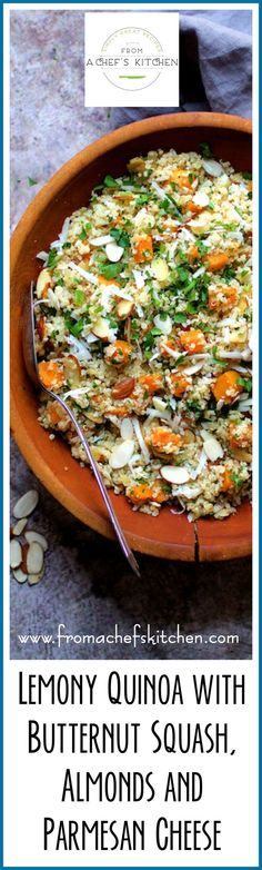 Lemony Quinoa with Butternut Squash Almonds and Parmesan Cheese is perfect as a side dish or vegetarian entree + easiest quinoa cooking method EVER!