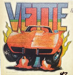 Corvette Vintage 1977 Glitter Iron On Heat Transfer by VintageIronOn on Etsy