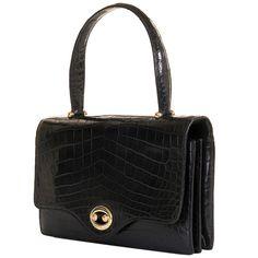 A Very Rare Vintage Hermes 26cm Black Crocodile 'Sac Boutonniere' Bag at 1stdibs