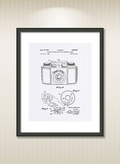 This reproduction was digitally restored and in some cases altered to remove defects or unwanted artifacts present in the original patent document.  Buy more and save! Buy ... #patentart #patentprints #vintage #blueprint #camera