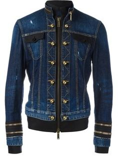 officer wash zipped denim jacket