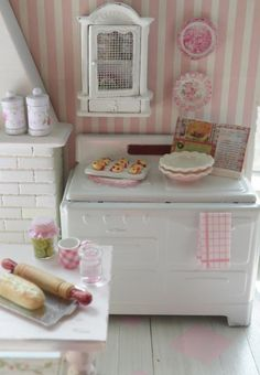 cute little kitchen but I LOVE the wallpaper for Bristol's room