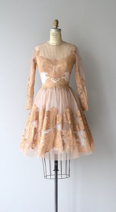 Vintage 1950s nude silk net and nude lace dress with long sheer and lace sleeves, fitted waist, full skirt with layers of lace and net and metal back
