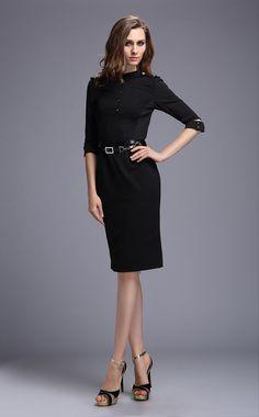 Women Office Black Dress For Winter Long Sleeve | fashjourney.com