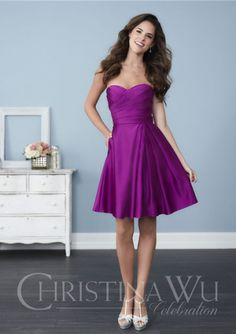 Ruched Sleeveless Taffeta Short Length Sweetheart A-line Zipper Purple Bridesmaid / Wedding Party Dresses