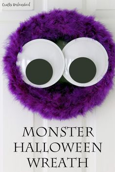 If you're short on time but big on festivities then you are going to love this DIY Halloween Monster Wreath. This friendly little monster makes the perfect porch decoration for October. You can add hi Monster Decorations, Diy Halloween Decorations, Diy Halloween Costumes, Holidays Halloween, Spooky Halloween, Halloween Wreaths, Halloween 2018, Monster Wreath, Monster Crafts