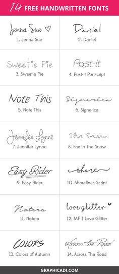 Free handwritten fonts. View the post for download links.