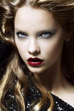 Love the classic red lips but paired with those icy eyes they are amazing!
