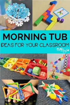 Tub Ideas for your Classroom I love using Morning Tubs in my classroom. Check out all of these ideas for what to place in the tubs.I love using Morning Tubs in my classroom. Check out all of these ideas for what to place in the tubs. Morning Activities, Work Activities, Classroom Activities, Motor Activities, Childcare Activities, Preschool Curriculum, Preschool Learning, Early Learning, Summer Activities