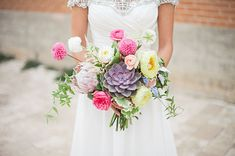A bright #wedding bouquet perfect for a spring wedding! From http://greenweddingshoes.com/whimsical-watercolor-wedding-inspiration/ Photo Credit: http://laurenpeelephotography.com/ Floral Design by http://southerntabledesign.com/