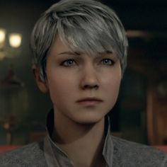 Kara from Detroit: Become Human, Is just cute all the time. Detroit Being Human, Detroit Become Human Connor, Human Icon, Human Art, Woodland House, Quantic Dream, Becoming Human, White Hair, Most Beautiful Women