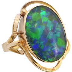 Vintage Retro 60's Vibrant Green & Blue Opal Ring