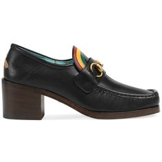 Gucci Women's Vegas Leather Pumps (50,750 INR) ❤ liked on Polyvore featuring shoes, pumps, black chunky heel pumps, leather pumps, gucci loafers, black leather pumps and slip on loafers
