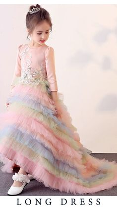 Modest and fun: Rainbow Color Hem Flowers Round Collar Long Sleeves Long Dress Girls Party Wear, Baby Girl Party Dresses, Little Girl Dresses, Flower Girl Dresses, Dresses For Kids, Kids Party Wear Dresses, Baby Tutu Dresses, Kids Wear, Baby Frocks Designs