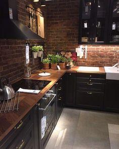 Dark brick - Neue Deko-Ideen #rustickitchendecor Kitchen Room Design, Kitchen Cabinet Design, Modern Kitchen Design, Home Decor Kitchen, Rustic Kitchen, Interior Design Kitchen, New Kitchen, Kitchen Ideas, Kitchen Designs
