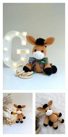 Amigurumi Doll Pattern, Crochet Amigurumi Free Patterns, Crochet Animal Patterns, Stuffed Animal Patterns, Crochet Animals, Free Crochet, Stuffed Animals, Amigurumi Toys, Crochet Horse