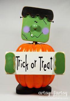 Frankenstein Pumpkin at artsyfartsymama.com #Halloween