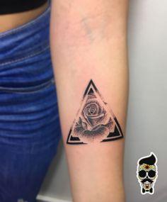 Geometric rose tattoo , dotwork tattoo